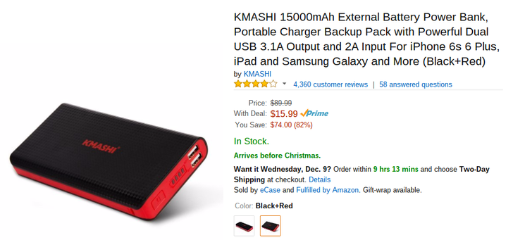 [Deal Alert] KMASHI 15000mAh External Battery Pack Reduced To $12.50 On Amazon With Coupon Code