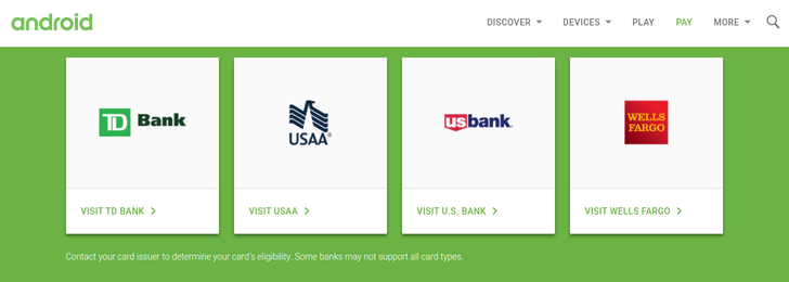TD Bank Now Shows Up As Supported On Android Pay's Website