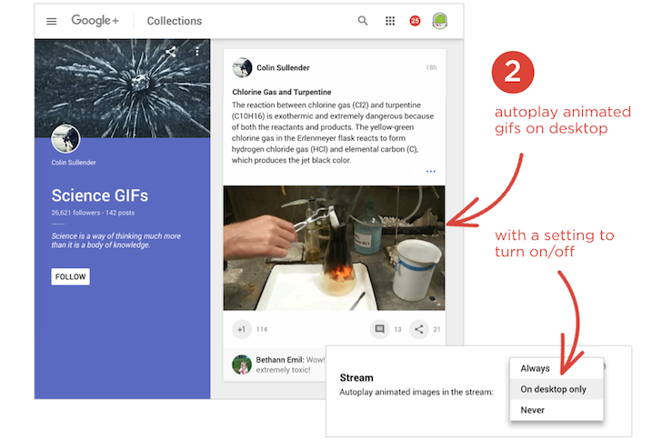 Google+ Web Preview Adds Setting To Autoplay GIFs, Makes Notifications Clearer