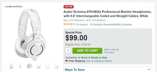 [Deal Alert] White Audio-Technica ATH-M50x Headphones Are Just $99 At Adorama ($140 Off Retail)