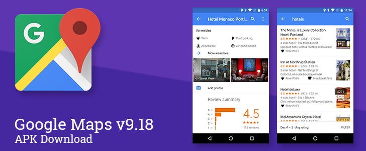 Maps v9.18 Now Shows Amenities On Hotel Listings And Search Results, Adds Carousel Of Images To Business Listings [APK Download]