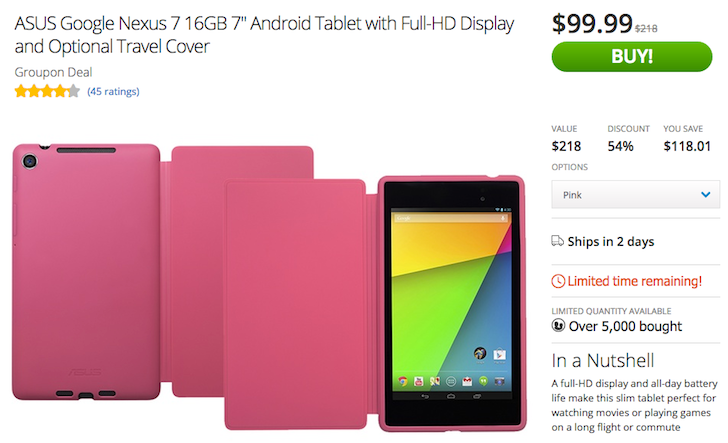 [Sweet Deal Alert] Nexus 7 2013 Drops To $99.99 On Groupon With Optional Travel Cover