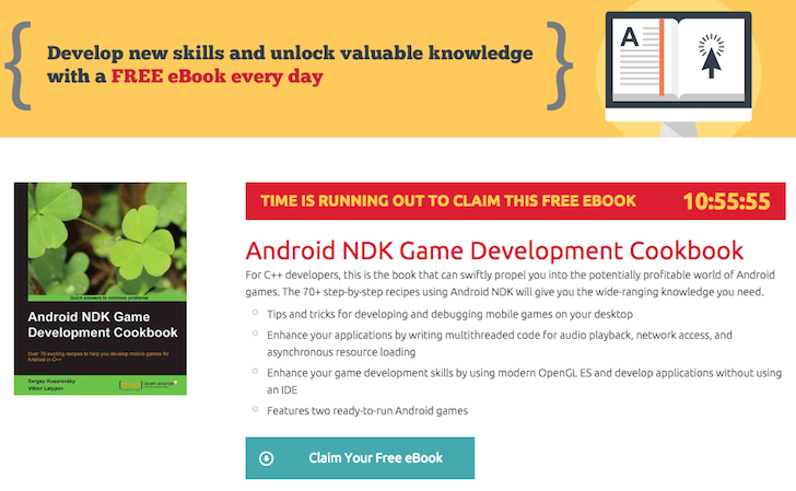 [Freebie Alert] Hurry: Packt Is Giving Away The Android NDK Game Development Cookbook For Free