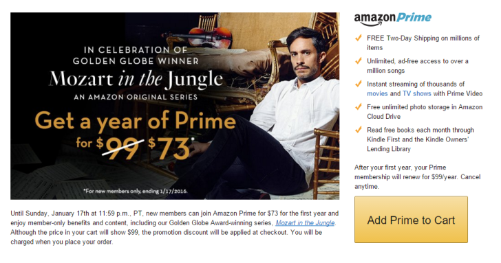 [Update: Deal Is Live] Amazon Makes Prime $73 To Celebrate 'Mozart In The Jungle' Awards, And Everyone Can Watch Seasons 1 & 2 Free