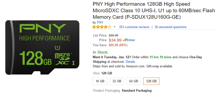 [Deal Alert] PNY 128GB MicroSD Card On Sale For $34.95 At Amazon