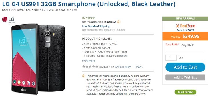 [Edit: Deal Over] Unlocked LG G4 Available For $349.95 At B&H, But Only For The Next Few Hours