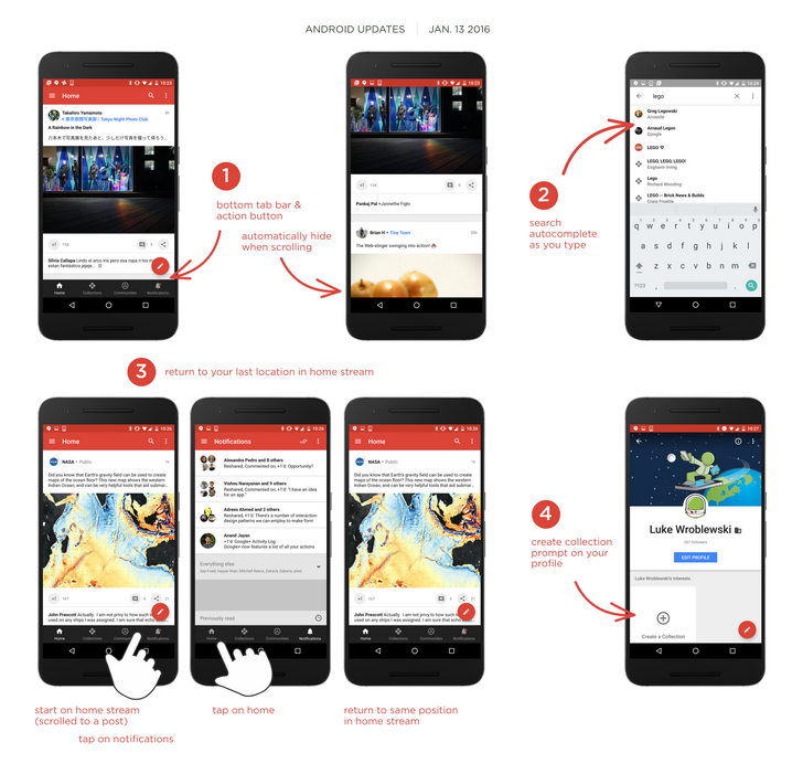 Google+ 7.0 Automatically Hides The Bottom Tab Bar When Scrolling, And More [APK Download]