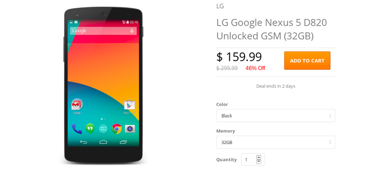 [Deal Alert] Daily Steals Again Selling The Refurbished 32GB Nexus 5, This Time For $159.99