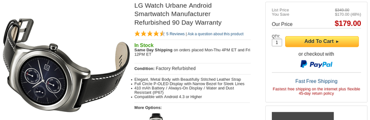 [Deal Alert] Strap On A Refurbished LG Watch Urbane From BuyDig For Only $179