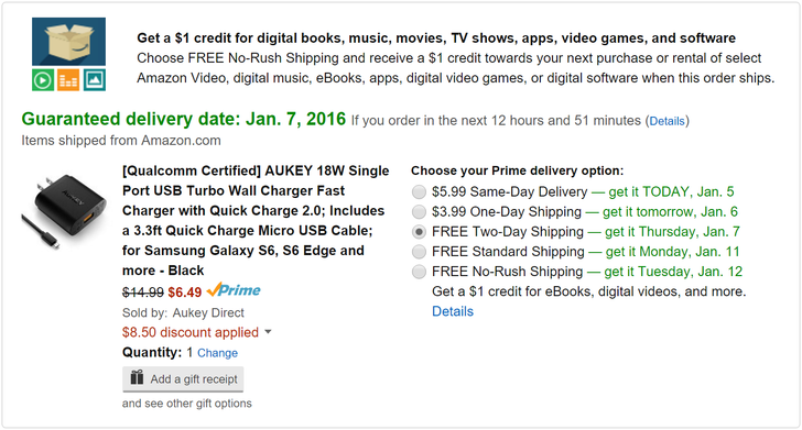 [Deal Alert] Aukey Quick Charge 2.0 Charger + 3.3 Foot MicroUSB Cable Just $6.49 After $8.50 Off Coupon