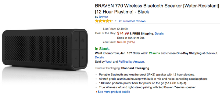 [Deal Alert] Braven 770 Water Resistant Bluetooth Speaker $74.99 As Amazon's Gold Box Deal (50% Off)