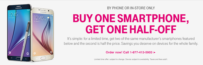 T-Mobile Offers Buy One, Get One Half Off Prices On Samsung And LG Flagship Phones, But Not On The Web