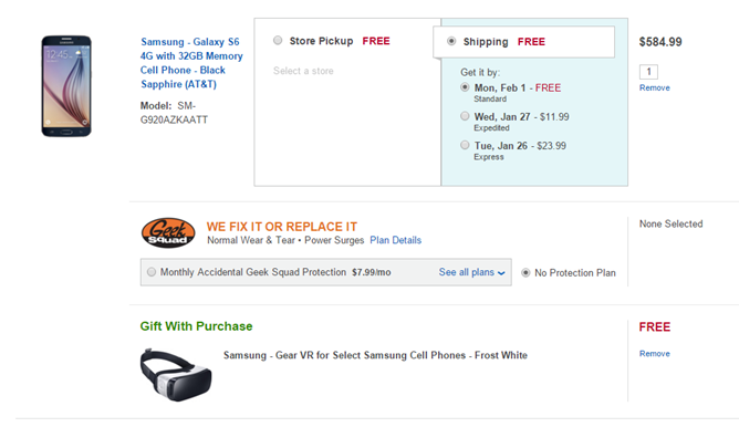 [Deal Alert] Best Buy Offers A Free Samsung Gear VR With The Purchase Of A Galaxy S6, S6 Edge, S6 Edge+, Or Note 5, Today Only