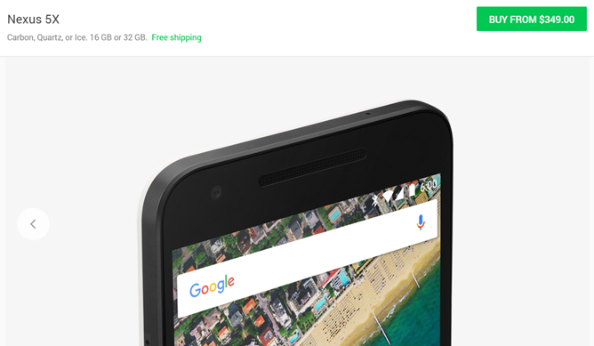 Google Drops The Nexus 5X Price To $349 For 16GB, $399 For 32GB In The US Google Store
