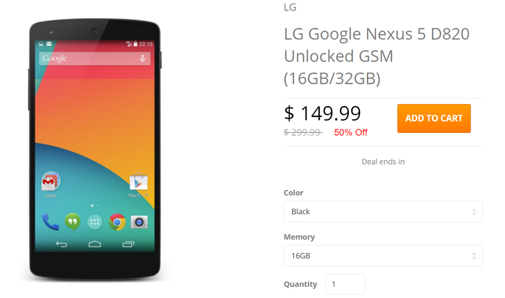 [Deal Alert] Refurb Nexus 5 $150/180 For 16/32 GB Model On Daily Steals