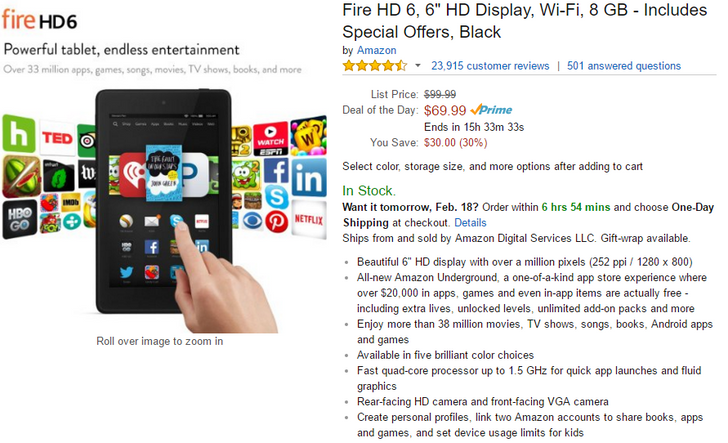 [Deal Alert] Amazon Fire HD 6 On Sale For $30 Off—8GB $69.99 And 16GB $89.99