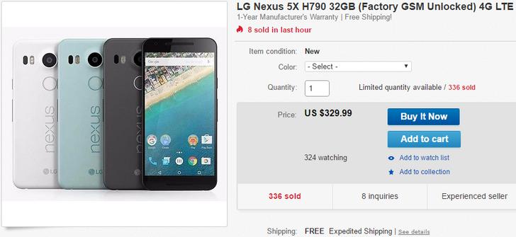 [Deal Alert] 32GB Nexus 5X On Sale Again For $329.99 Via eBay