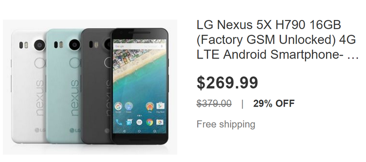 [Deal Alert] Nexus 5X 16GB Drops To Its Lowest Price Yet, Grab One For Just $269.99 On eBay