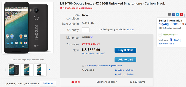 [Deal Alert] LG Nexus 5X $20 Off On eBay - 16GB For $280, 32 GB For $330