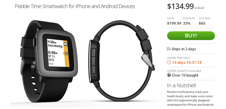 [Deal Alert] Pebble Time On Sale At Groupon, And You Can Get An Extra 15% Off With Coupon Code (Final Price $115)