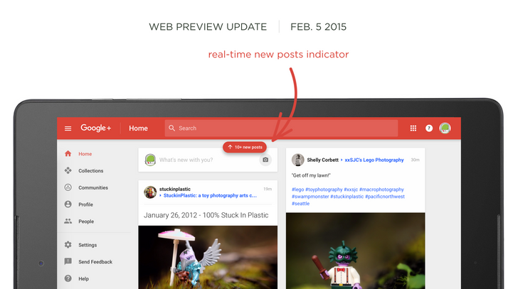 Google+ Web Preview Update Displays Larger Profile Images In A Gallery, A Real-Time New Post Indicator, And More