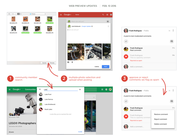 Google+ Web Preview Update Lets You Search For Members In A Community, Upload Multiple Images To A Post, And More