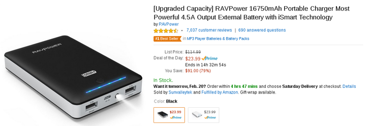 [Deal Alert] This RAVPower 17k mAh Portable Charger With A Flashlight, LED, And Two USB Ports Is Amazon's Deal Of The Day At $23.99