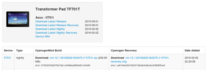 Transformer Pad TF701T Leaps From Android 4.4 To 5.1 Via CyanogenMod 12.1 Nightly Builds, Xperia M Gets Marshmallow