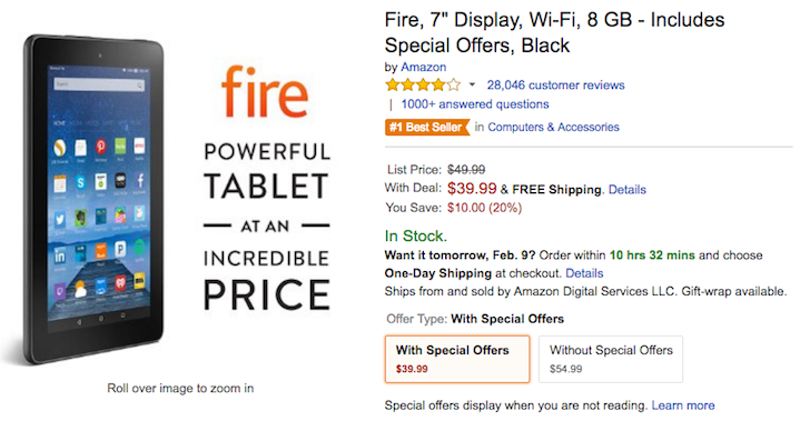 [Deal Alert] Amazon Fire 7 Drops To $39.99 On Amazon, $54.99 Without Special Offers ($10 Off)