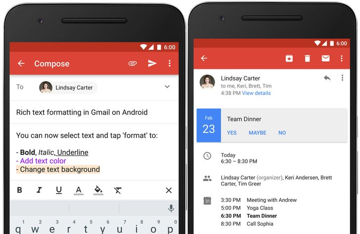 Gmail Updated To v6.0 With Rich Text Formatting And Instant RSVPs [APK Download]