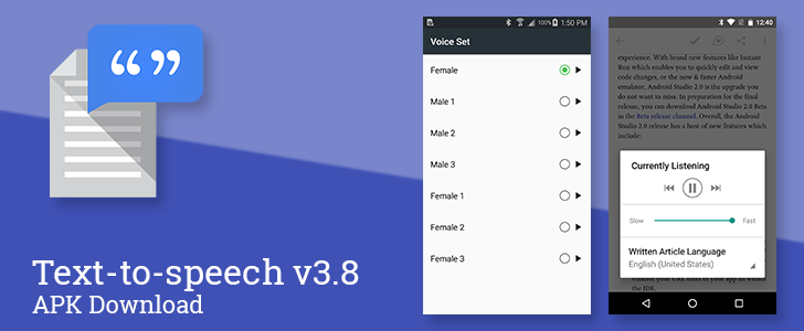[Update: Official Changelog, New Languages, And More] Text-To-Speech v3.8 Adds Male And Female Voice Variations To Each Language [APK Download]