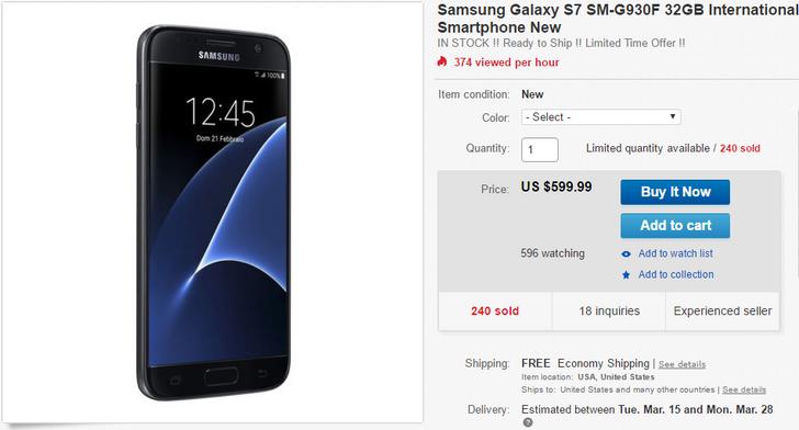 [Update: New Seller] Deal Alert: Unlocked International Samsung Galaxy S7 On Sale For $599.99 Via eBay