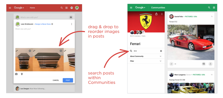 Google+ Web Preview Now Lets You Reorder Images With Drag And Drop, Plus Search For Posts Within A Community