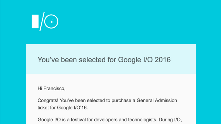 Google I/O 2016 Lottery Results Have Started Going Out
