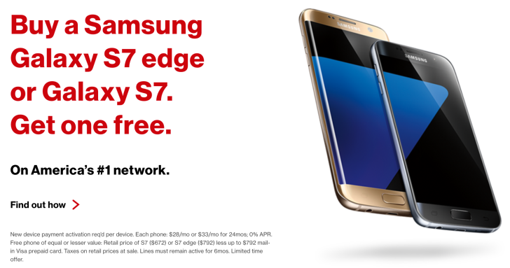 [Update: Sprint] Verizon Is Now Offering Buy-One-Get-One-Free On The Galaxy S7 And S7 Edge