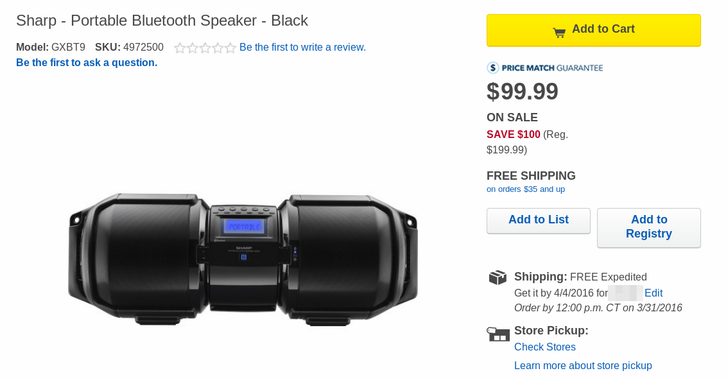 [Deal Alert] Best Buy Has A Crazy 100W Sharp Portable Bluetooth Boombox For Half Off ($99) As Today's Deal Of The Day