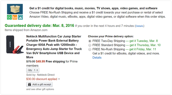 [Deal Alert] Nekteck Car Jump Starter Portable Power Bank On Sale For $49.99 At Amazon After $30 Off CC