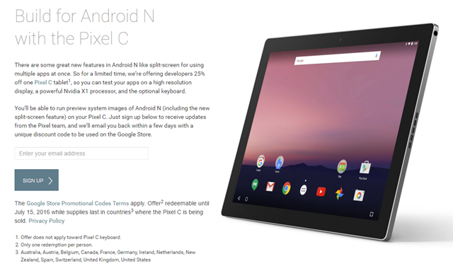 The 25% Developer Discount On The Pixel C Is Now Active In Austria, Belgium, Canada, France, Germany, The Netherlands, Spain, and Switzerland