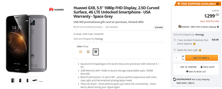 [Deal Alert] Metal-Clad Huawei GX8 On Sale For $300 ($50 Off) With Bonus $50 Gift Card At Newegg
