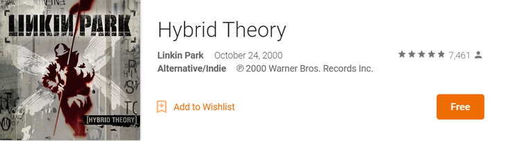 [Deal Alert] Linkin Park's Best Selling Album, Hybrid Theory, Free On Google Play Music (Likely US Only)