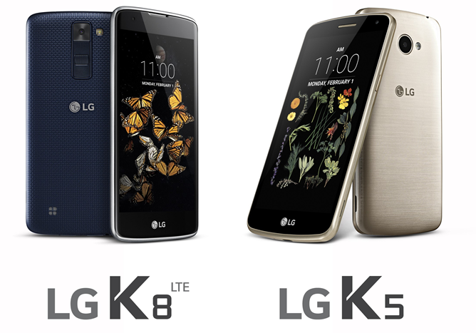 LG Announces Two New Mid-Range Models, The K5 And K8 LTE, For Release In Worldwide Markets