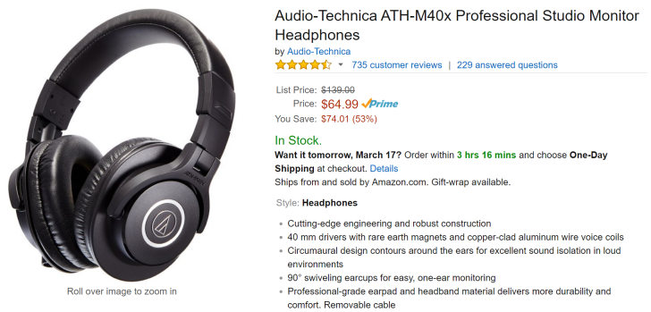 [Deal Alert] Audio-Technica's Uber Popular M40x & M50x Headphones On Sale For $64.99 & $117.95