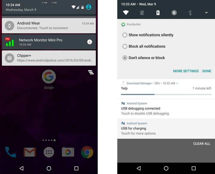 Android N Feature Spotlight: Long-Press On Notifications Now Opens In-Line Notification Options