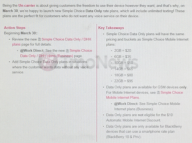 T-Mobile Will Begin Offering Data-Only Simple Choice Plans On March 30th, According To Leak