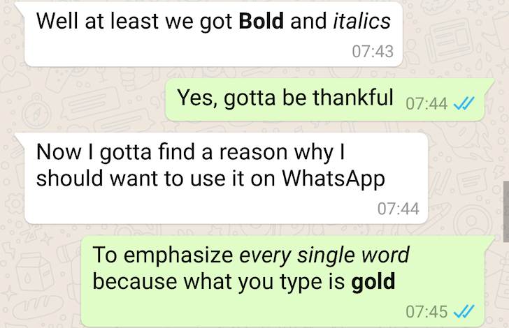 WhatsApp Now Lets You Format Text As Bold Or Italic, Send Google Drive Files As PDF, And More
