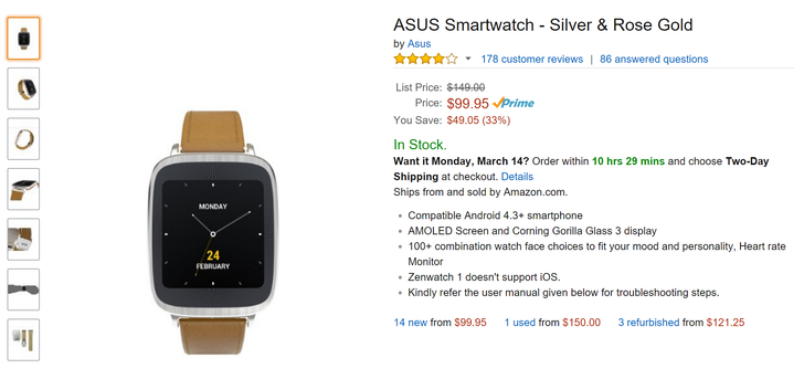 [Deal Alert] Silver & Rose Gold Asus ZenWatch First Gen $99 At Amazon
