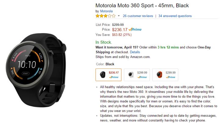 [Update: $227.72] [Deal Alert] Moto 360 Sport In Black Down To $236 On Amazon