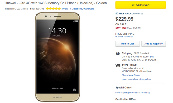 [Deal Alert] Huawei GX8 On Sale For $229.99 ($120 Off) At Best Buy Today
