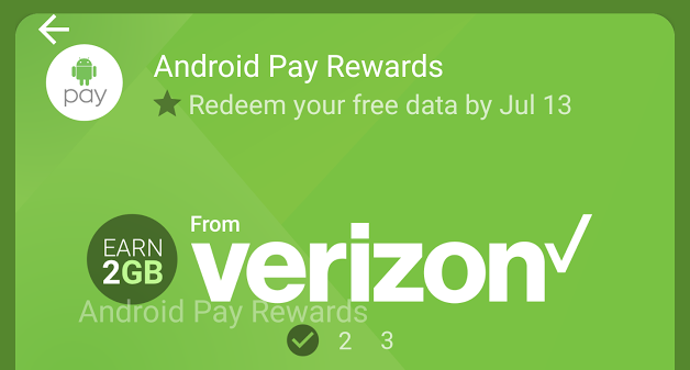 Verizon Offers Up To 2GB Of Free Data To Customers Who Use Android Pay