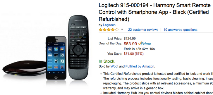 [Deal Alert] Refurbished Logitech Harmony Remotes Have Deep Discounts For Today's Amazon Gold Box Deal